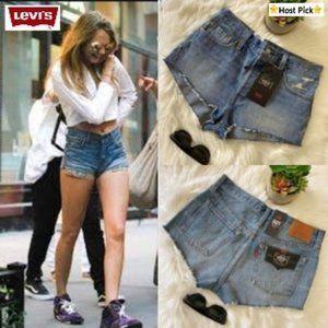LEVI'S 501 Micro Shorts High Rise Distressed Sz 29